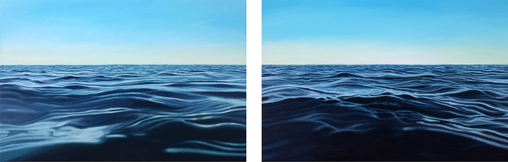 Two paintings by Natalie Dowse. Song of the Siren 1 & 2. Paintings looking out to sea that will be on show at the open studio.