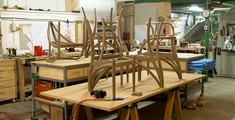 Edward Johnson's workshop showing oak chairs in the progress of being made. Come and visit at the open studio.