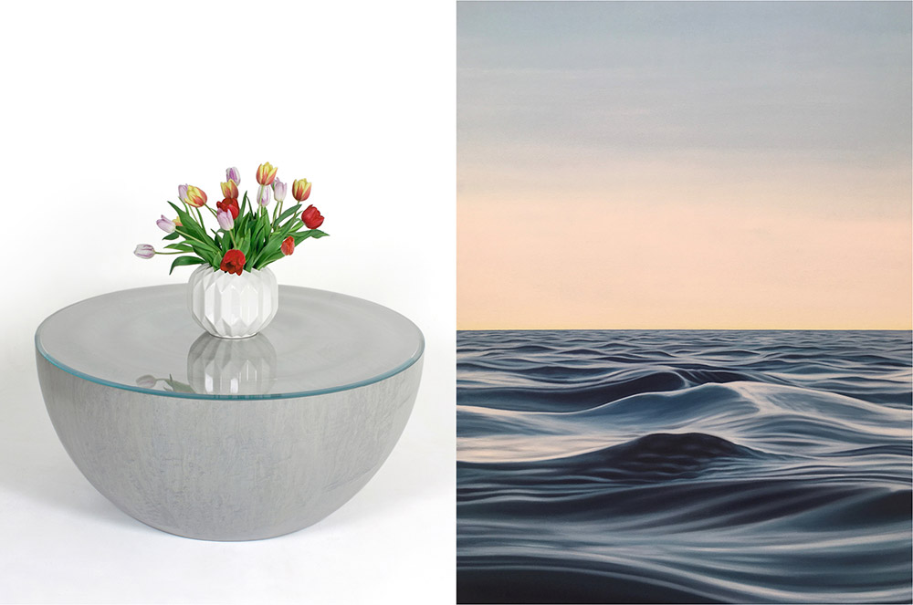 'Splash' coffee table by Edward Johnson and 'Song of the Siren 6' painting looking out to sea by Natalie Dowse