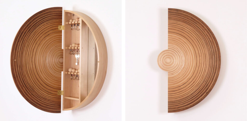 Sussex Collection: Key Cabinets: Two images of the cabinets, one with the cabinet open, one with the cabinet closed. When closed it is a crescent shape. Made in English walnut, English cherry and maple