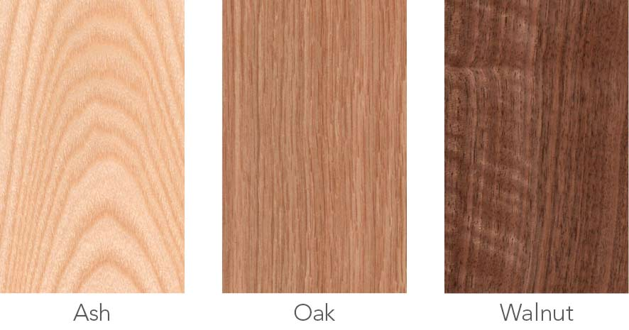 Wood samples in ash, oak and walnut