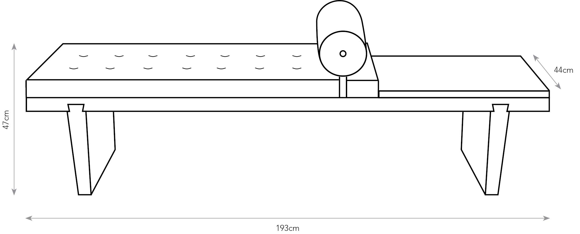 Line drawing of the Mill Bench