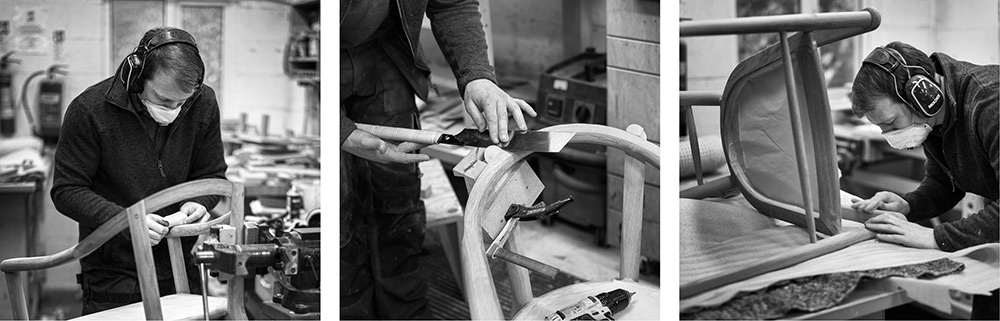 Edward Johnson working on the Sussex Chairs in the workshop. Photos by Alan Frost.