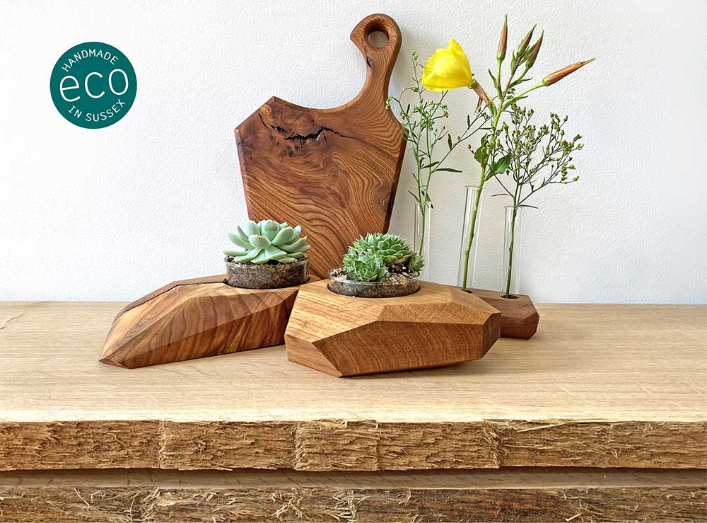 A selection of our EJ-eco products made from beautiful hardwood recycled off-cuts. Chopping board, flower and plant holders.