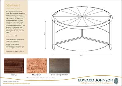 Downloadable product sheet for Starburst coffee table.