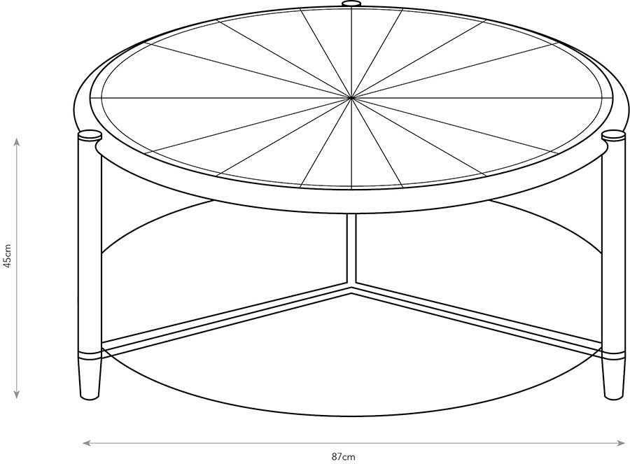 Line drawing of starburst coffee table showing dimensions.