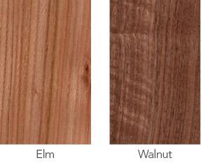 Elm and walnut wood sample