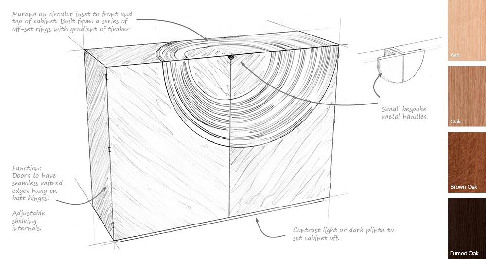 Design sheet showing a sketch of the Helios cabinet and wood samples.
