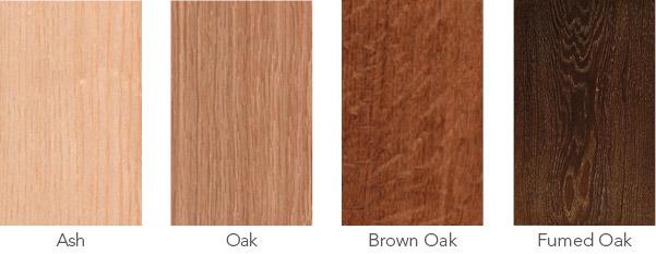 Wood samples, ash, oak, brown oak and fumed oak