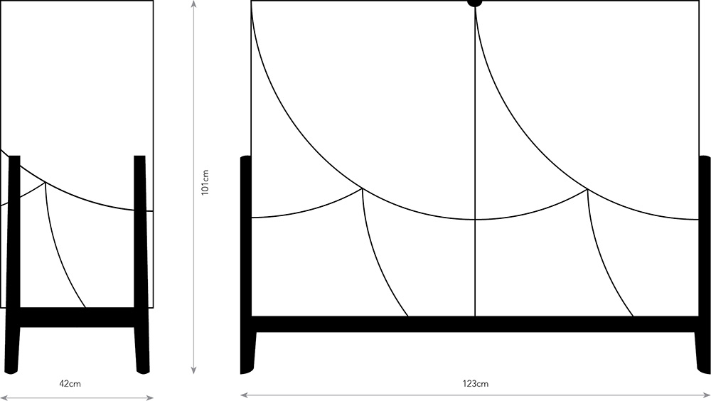 Drawing of front and side elevation on cabinet.
