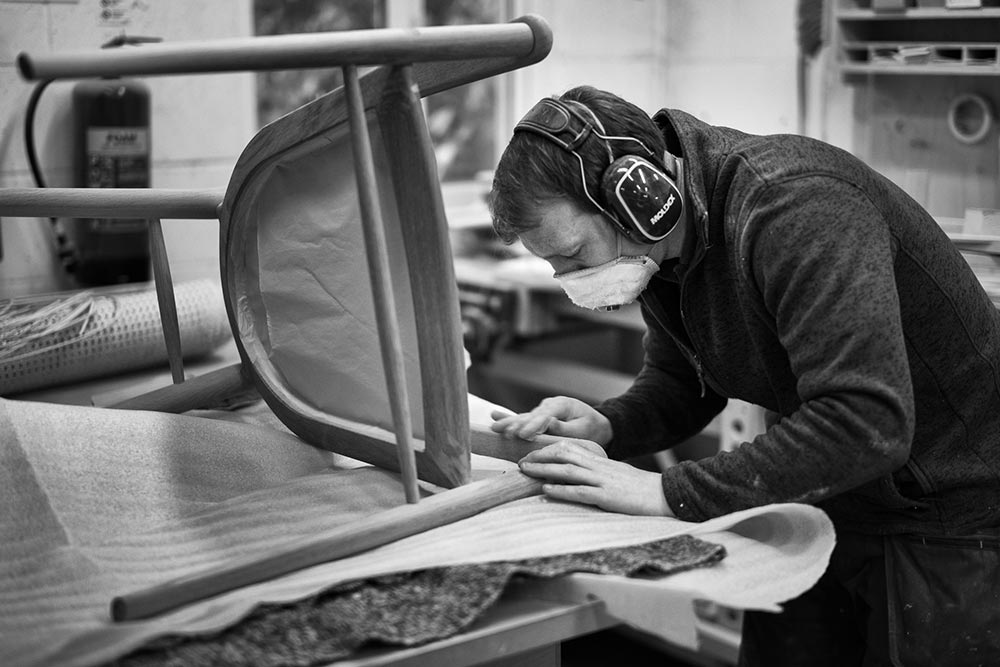 Edward Johnson in his workshop working on the Sussex Chairs.