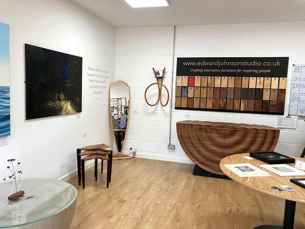 Edward Johnson's open studio September 2020 showing a selection of his furniture and Natalie Dowse's paintings.