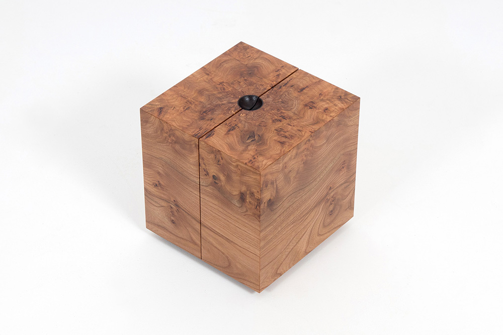 Cube jewellery box made in elm