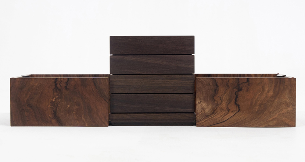 Cube jewellery box made in walnut